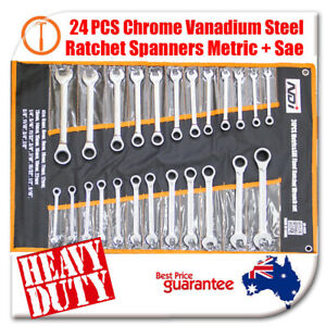 24Pc Ratchet Spanner Set Metric & Imperial Combination Open End Ring CR-V 0329