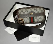 GUCCI Ophidia GG Brown Beige Supreme Canvas Leather Gold Zip Logo Belt Bag