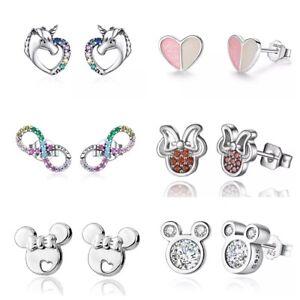 Kinder Ohrringe Mickey Mouse echt 925 Silber Mädchen Ohrringe Sterling