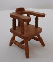 Old Vintage Miniature Dollhouse Furniture Wooden Kitchen Dining Captains Chair
