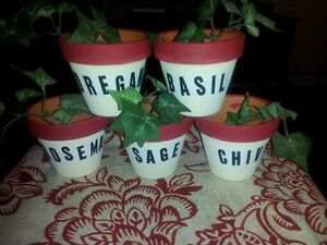 Set of 5 clay mini herb pots,red and white.