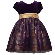 BONNIE JEAN Toddler Girl 2T Purple Velvet & Plaid Taffeta Dress NWT