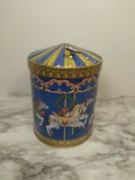 Germany Blue Embossed Carousel Horse Tin Cookie Music Box 2008