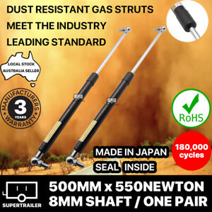 2x gas struts 500mm 550N (8mm shaft) CAMPER TRAILER CARAVAN CANOPY Toolbox STRUT
