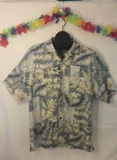 Hawaiian Tony Bahama Silk Shirt Blue Green Floral Palm Pattern Size M Luau Party