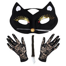 Mask and Lace Gloves Women/'s Deluxe Halloween Masquerade Glitter Mask Set