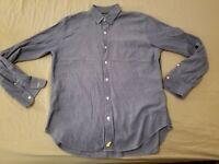 Mens Bonobos Dress Shirt L Large Blue Slim Button Cotton