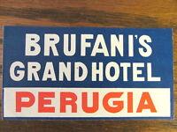 Vintage Original Brufani's Grand Hotel luggage label Perugia Italy
