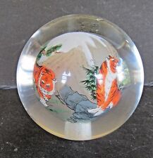 Clear Round Glass Paperweight Reverse Painted TIGER TIGERS  MOUNTAINS Asian The