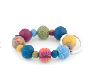 NEW JILZARAH Handmade Clay Beads BOHEMIAN MULTI COLOR  20mm Wrist Keychain