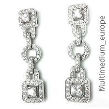 prachtvolle große Silber Ohrringe im Art Deco Stil Zirkonia 925 silver earrings