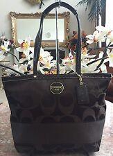 Coach F18037 Signature Stripe Brown Sateen Handbag Purse EUC!