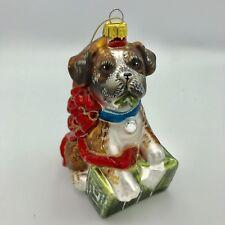 St. Bernard Puppy Blown Glass Dog Christmas Tree Ornament Holiday Decor Animal