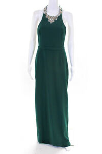 Marchesa Notte Womens Beaded Crepe Gown Green Size 810926509