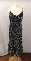 Per Una M&S Size 12R Black/White Zebra Print Strappy Ruffle Sun Dress