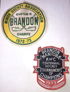 2- large Brandon Manitoba Canada Embroidered Patches vintage 1972 1973