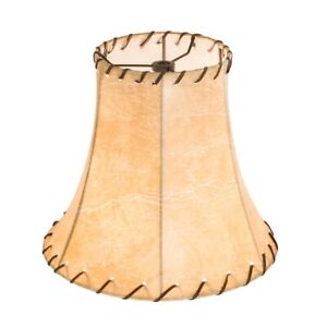 """9"""" Wide Faux Leather Tan Hexagon Shade"""