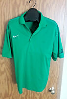 Nike Mens Golf Dri-Fit Short Sleeve Athletic Green Mesh Polo Shirt Size L Large