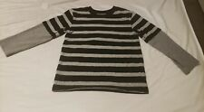 Boys Size 5 Black and Grey Striped 365 Kids by Garanimals Long Sleeve Shirt