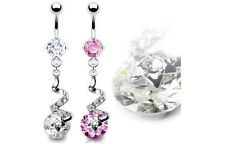 2 lot Shiny SWIRL CZ Star Dangle BELLY Button NAVEL Bar RINGS Piercing Jewelry