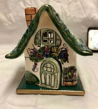 2000 Blue Sky Clayworks Heather Goldminc Cottage Tea Lite House with Base