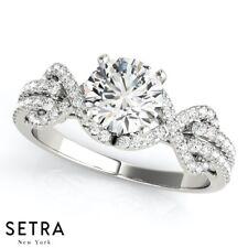 Elegant Unique Style Genuine Diamond Semi-Mount Engagement Ring 14k