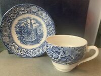 Set of 5 Flat Cup & Saucer Set Liberty Blue STAFFORDSHIRE England Tea Coffee LOT