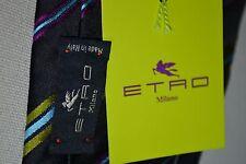 ETRO Designer Krawatte 100% SEIDE corbata TIE Tuch NEU 129€ brand NEW schwarz