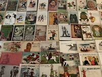 BIG LOT OF OLD  VINTAGE~ COMIC HUMOR funny ~POSTCARDS-1900's-All In Sleeves-a504