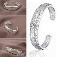 Women's 925 Sterling Silver Bezel Hollow Cuff Bangle Open Bracelet Fashion