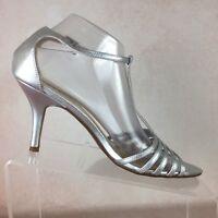 TALBOTS B29 Silver Leather Ankle TStrap High Heels OpenToe Sandals Womens Sz 9.5