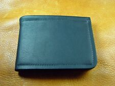 Black Cowhide LEATHER Bi-Fold Wallet handcrafted disabled Navy veteran USA 5044