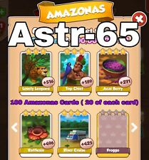 Coin Master  :- ) Take 100 Cards- 20 Of Each- Amazonas Set- Fast Delivery