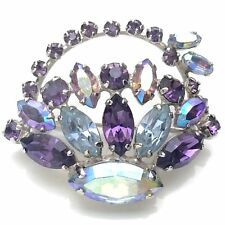Vintage Signed Sherman Purple Two Tone Flower Rhinestone Basket Brooch C780