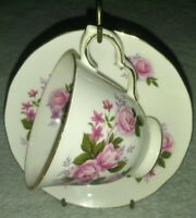 Queen Anne Bone China Pink Red Roses Teacup and Saucer, Made in England vintage