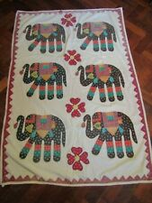 Vintage Indian Wall Hanging Embroidered Elephants Handmade Hand Quilted Panel