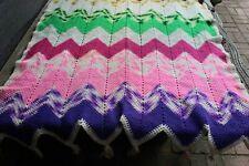 Vintage Handmade Crochet Colorful Zigzag Soft Wool Afghan/Throw Tassels