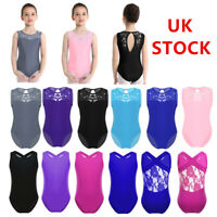 UK Kids Girls Ballet Dance Leotards Bodysuit Sport Gymnastic Lace Splice Unitard