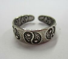 Yang Symbol Solid 925 Oxidized Jewelry Sterling Silver Adjustable Toe Ring Ying