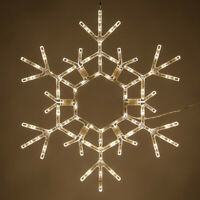 "36"" Warm White Lighted Christmas Snowflake Outdoor Display Hanging Folding Decor"