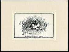 BULLDOG ANTIQUE 1900 WOOD BLOCK ENGRAVING NAMED DOG PRINT READY MOUNTED