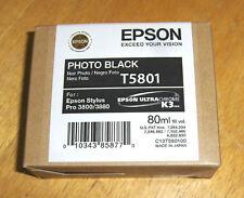 T5801 Genuine Epson Pro 3800 3880 Photo Black Ink T580100 w/exp 01-2018