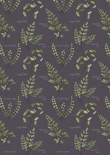 Hojas helechos y plantas tela el botánico Lewis y Irene A121.3 oscuro FQ