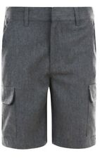 BOYS SCHOOL SHORTS CARGO POCKETS ADJUSTABLE WAIST EX UK STORE 3-11 YEARS NEW