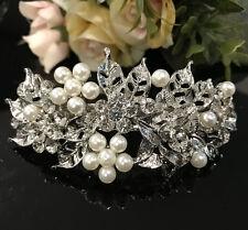 Sparkling silver Tone Flower Rhinestone clear Color Hair Clip Barrette ha dec
