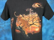 vintage 90s LEOPARD NATURE SUNSET T-Shirt MEDIUM wild animal cat