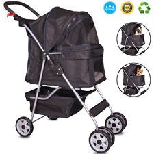 4 Wheels Pet Stroller Cat Dog Cage Stroller Walk Travel Folding Carrier Black