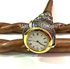 Vintage Antique Style Brass Twist Handle Wooden Walking Stick With Clock On Top