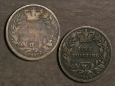 GREAT BRITAIN 1840/1842 1 Shilling Silver - 2 Coins