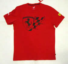 Puma SF Scuderia Ferrari Men's Team Tee, New Red Black Big Shield Sport Shirt L